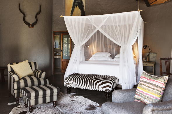 Interior of the bedroom at Motswari Game Lodge.