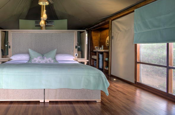 Luxurious bedroom interior Ngala Safari Camp.