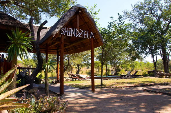 Exterior and entrance at Shindzela Tented Safari Camp.