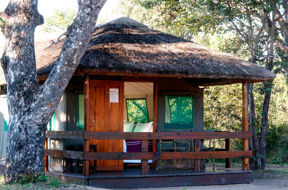 Exterior of the tented bedroom at Shindzela Tented Safari Camp.