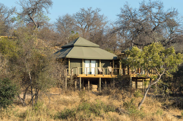 Exterior view of the Luxury Tent at Simbavati Hilltop Lodge.