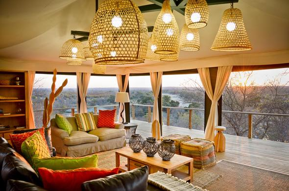 Simbavati Hilltop Lodge lounge sunset view.