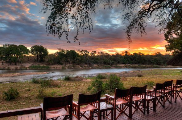 Enjoy spectacular views from the Simbavati River Lodge deck.